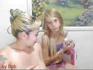 Tattooed female slut and blonde teen shemale chcik