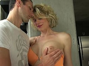 Blonde mature shemale slut enjoying male`s cock