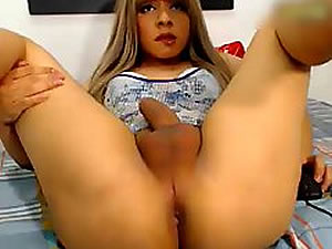 Sexy teen tranny jerking and cumming - webcam shemale tube
