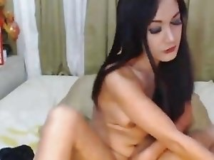 Busty Tranny Playing her Dick