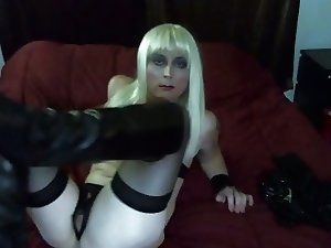 Hot Tasha in Vinyl Platinum Blond Crossdresser
