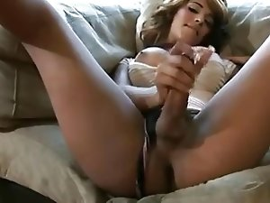 Sexy As Hell T-girl Strokes And Cums