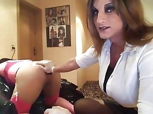 Crossdresser Gets Dildoed, Fingered and Fisted