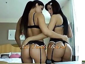 Two brunette shemale babes stroking each others