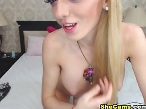 Gorgeous Blonde Tranny Strokes her Dick