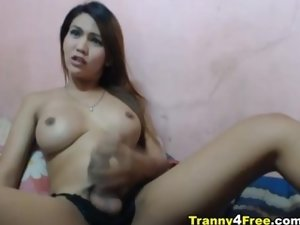 Busty Tranny Hottie Plays her Cock